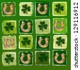 striped horseshoes and shamrocks in squares over green background, St. Patrick's Day concept - stock photo