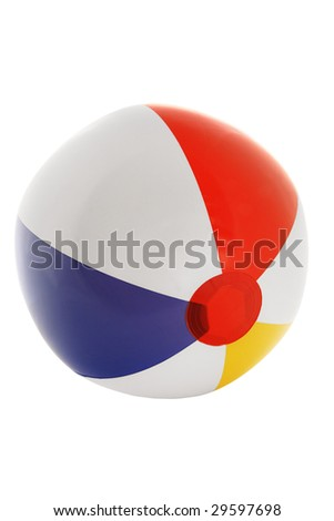 Striped inflatable ball on the white background
