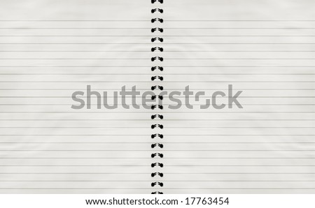 striped notebook with solid white paper in it