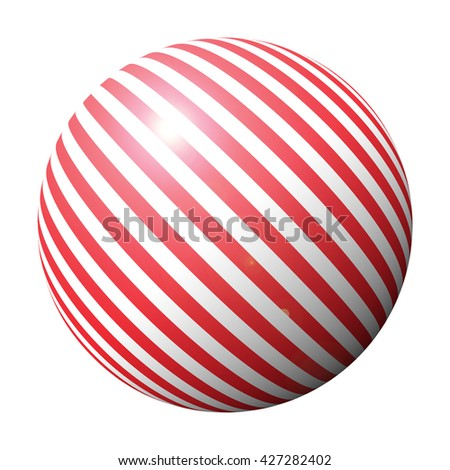 striped red ball candy - stock photo