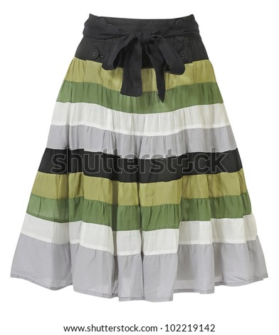 striped skirt isolated on white - stock photo