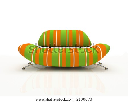 striped sofa on white background  insulated 3d - stock photo