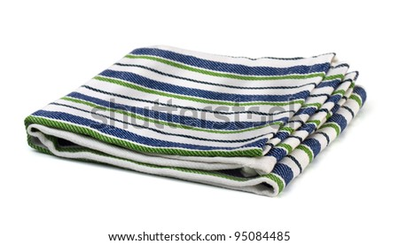 Striped textile kitchen napkin isolated on white - stock photo