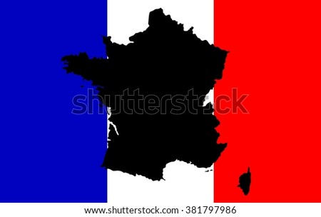 Striped white and blue flag of European country of France with map outline silhouette in black color over it.