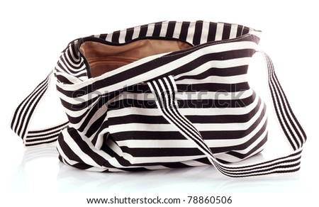 Striped women bag isolated on white background - stock photo