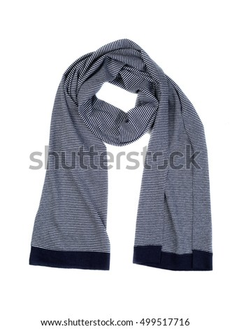 Striped wool scarf, isolate on a white background