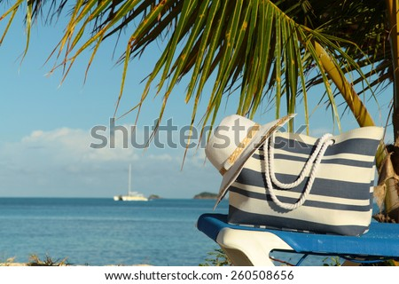 stripey blue bag and white hat under palm frond - stock photo
