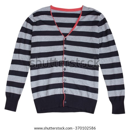 Stripped grey modern fashion male button sweater isolated on white. - stock photo