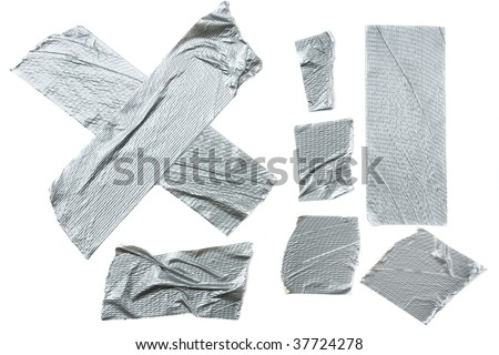 Strips of duct tape isolated on white background - stock photo