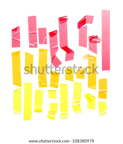 Strips of masking tape. Isolated on white background.