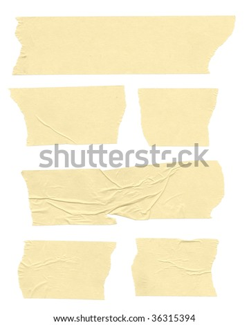 Strips of masking tape. Isolated on white. Clipping path included. - stock photo
