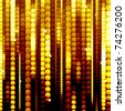 strips of shiny golden circles, abstract background - stock photo