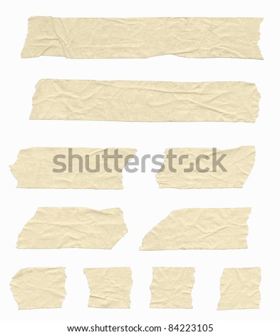Strips of wrinkled masking tape. Isolated on white. Clipping path included. - stock photo