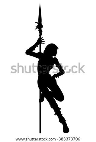 Striptease silhouette of warrior woman. Warrior girl is dancing striptease near the spear - stock photo