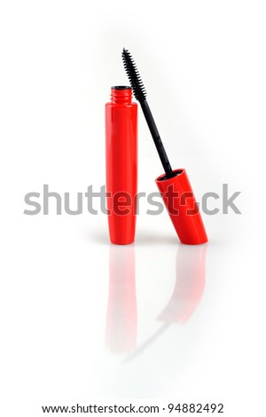 Stroke of black mascara with applicator brush - stock photo