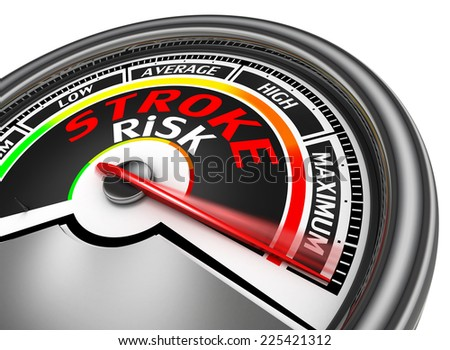 stroke risk conceptual meter indicate maximum, isolated on white background - stock photo