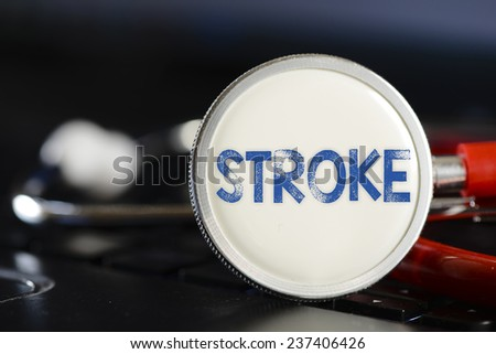 Stroke sign and stethoscope. Stroke sign and stethoscope. Medicine concept on computer keyboards - stock photo