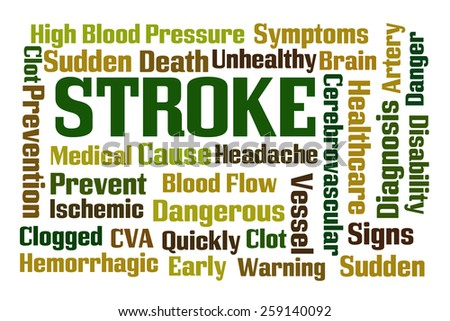 Stroke word cloud on white background - stock photo