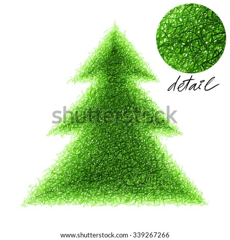 Stroked fir-tree illustration on a white background. - stock photo