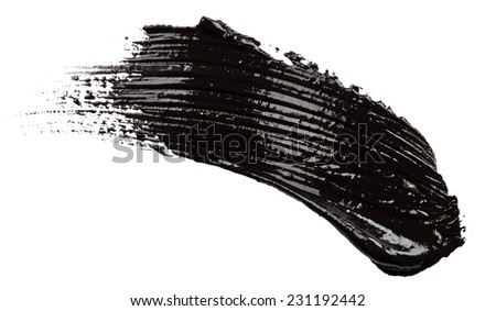 Strokes of black paint isolated on white background - stock photo