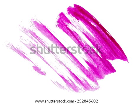 Strokes of purple paint isolated on white background - stock photo