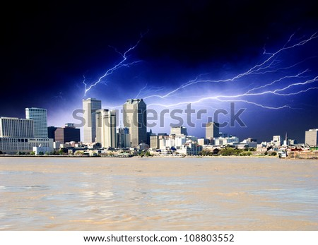 Strom approaching New Orleans Buildings in Louisiana, U.S.A. - stock photo