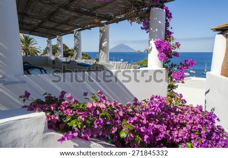 Stromboli view from a terrace of Panarea, Eolie, Sicily, Italy