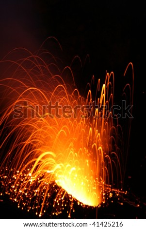 Strombolian Eruption - stock photo