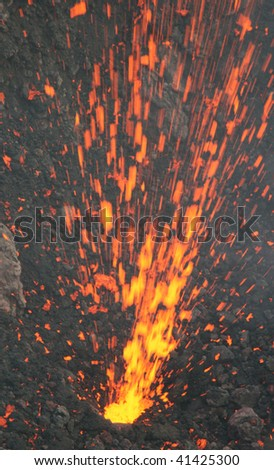 Strombolian eruption, volcano Stromboli, Italy - stock photo