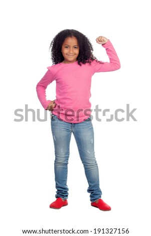 Strong African girl  isolated on a white background - stock photo