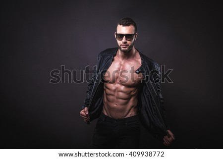 Strong and sexy male model.