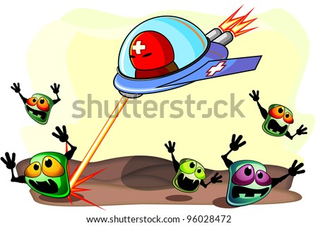 Strong antibacterial medicine on aircraft attacking frightened germs - stock photo