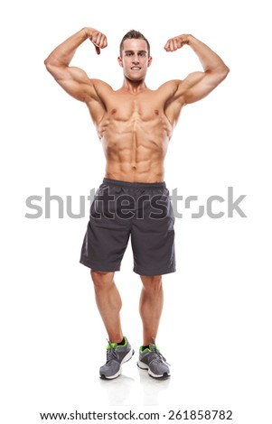 Strong Athletic Man Fitness Model Torso showing muscles isolated over white background - stock photo