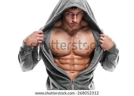 Strong Athletic Man Fitness Model Torso showing six pack abs. - stock photo