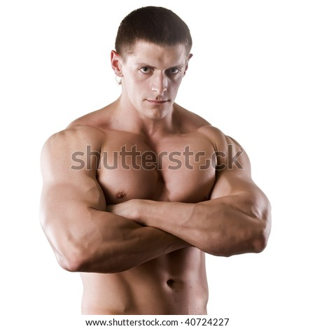 strong athletic man isolated on white background - stock photo