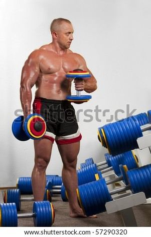 Strong bodybuilder training with dumbbells fitness gym - stock photo