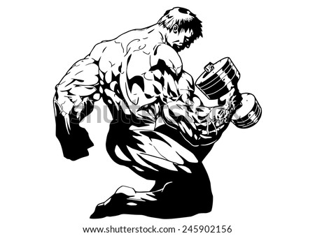 strong bodybuilder training with dumbbells,illustration,black and white,drawing,outline