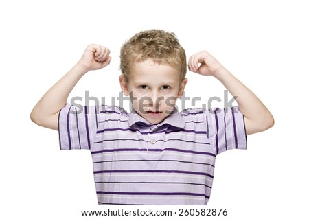 strong boy front - stock photo