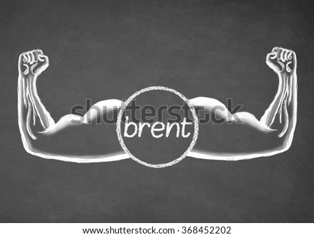 Strong Brent. Financial concept. Drawn muscle on blackboard. Closeup - stock photo
