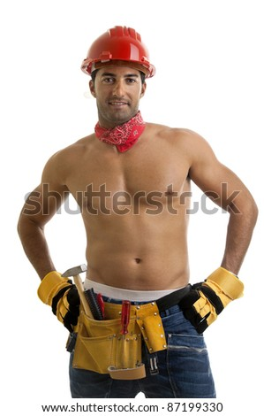 Strong build construction worker isolated in white
