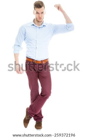 Strong businessman flexing muscle biceps isolated on white background - stock photo