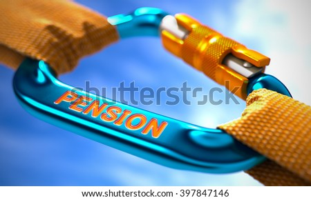Strong Connection between Blue Carabiner and Two Orange Ropes Symbolizing the Pension. Selective Focus. 3D Render. - stock photo
