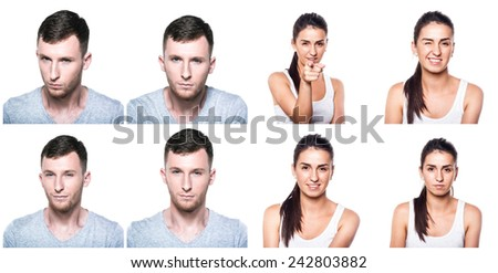 Strong, convincing, determined, confident boy and girl composite