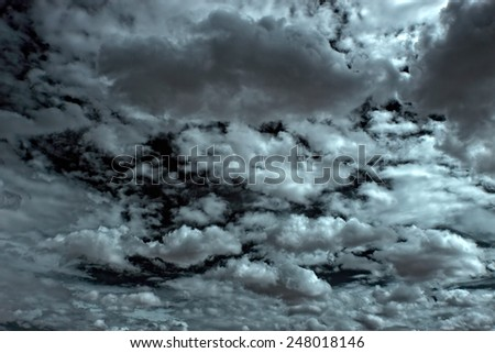 Strong dramatic clouds before storm - stock photo