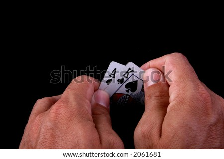 strong hand poker hand with king and ace - stock photo