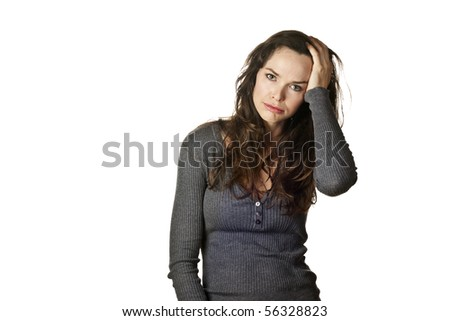 Strong image of a very tired, stressed and fed up attractive woman. Isolated over white. - stock photo