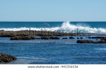 Strong Indian Ocean waves at Blue Holes beach in Kalbarri, Western Australia/Waves at Blue Holes/Coral Coast, Western Australia - stock photo