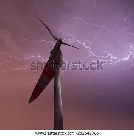 Strong lightning threatening wind turbines - stock photo