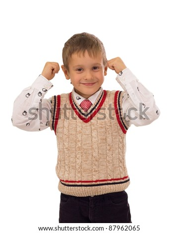 strong little boy - stock photo