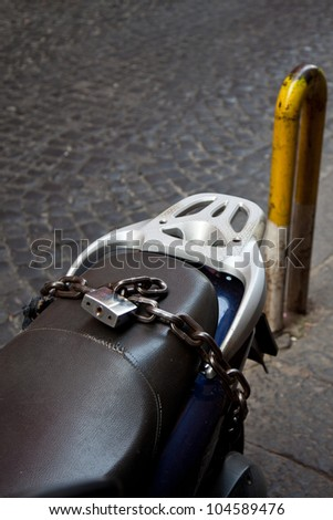 Strong lock preventing moto theft - stock photo